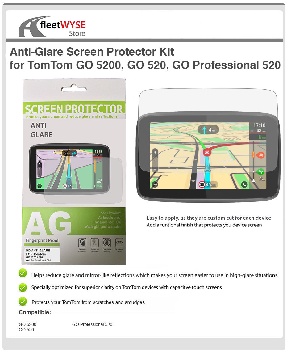 Details about Anti-Glare Screen Protector Kit for TomTom GO 5200, GO 520,  GO Professional 520