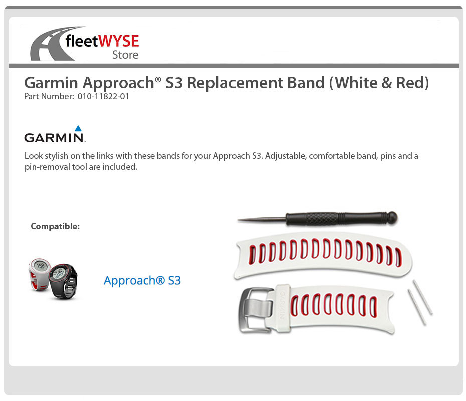 Garmin White Approach S3 White Red Replacement Wrist Band Strap 010-11822-01