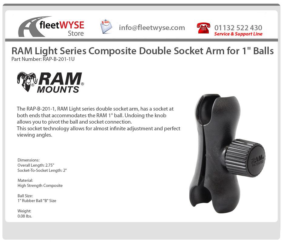 """Zócalo de doble compuesto de luz Ram brazo para Series 1/"""" bolas RAP-B-201-1U"""